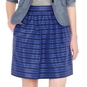 J Crew Ladies Blue Striped Silk Taffeta Mini Skirt